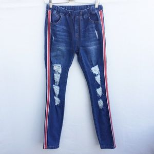 American Bazi distressed pull on jeans w/stripes.